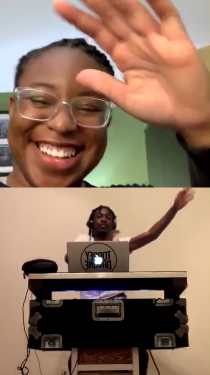 WMA artist-in-residence, Sydney A. Foster, kicked off HPA live on Instagram with friend and DJ Torrey Davone