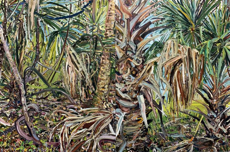 "Lilian Garcia-Roig (Tallahassee, FL),""Cumulative Nature: North Florida Palm Brush,"" 2019 Oil on canvas 48"" x 72"" (diptych)"