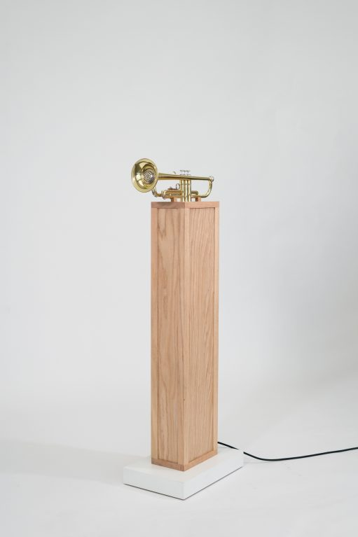"Lauren O'Connor-Korb (Athens, Georgia), ""The Soloist,"" 2019 Trumpet, oak, micro-controller, components 55 x 22 x 12"